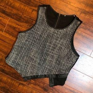 Runway Sheer Back Asymmetrical Shirt Top